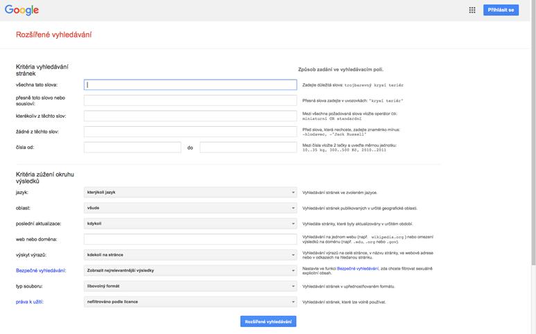 Google – rozšířené vyhledávání